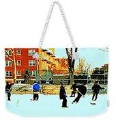 Saturday Afternoon Hockey Practice At The Neighborhood Rink Montreal Winter City Scene Weekender Tote Bag by Carole Spandau