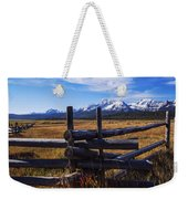 Sawtooth Mountains And Wooden Fence Weekender Tote Bag