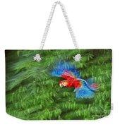 Scarlet Macaw Juvenile In Flight Weekender Tote Bag