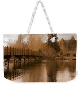 Scenic Golden Wooden Bridge Tree Reflection On The Deschutes River Weekender Tote Bag