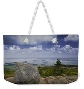 Scenic View With Boulder On Top Of Cadilac Mountain Weekender Tote Bag