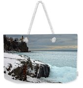 Scenic Winter Lighthouse Weekender Tote Bag