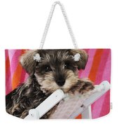 Schnauzer Puppy Looking Over Top Weekender Tote Bag