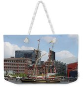 Schooner Arriving At Baltimore Inner Harbor Weekender Tote Bag