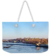 Schuylkill River At Boathouse Row And  The Fairmount Waterworks Weekender Tote Bag by Bill Cannon