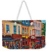 Schwartzs Deli And Warshaw Fruit Store Montreal Landmarks On St Lawrence Street  Weekender Tote Bag