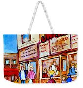 Scooting By The Main Steakhouse Authentic Montreal Paintings Prints Originals Commissions C Spandau Weekender Tote Bag