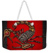 Scorpion On Red And Black Leather Weekender Tote Bag