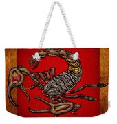 Scorpion On Red And Brown Leather Weekender Tote Bag