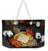 Scrambled Eggs Salami And Cheese For Breakfast. Travelling Baby Pandas Series. Weekender Tote Bag