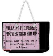 Screen Capture  Newspaper Article  Mutual Film Corporation's  The Life Of General Villa 1914-2013 Weekender Tote Bag