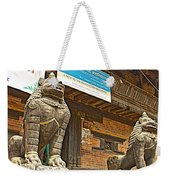 Sculptures Of Protector Figures In Front Of Sufata Buddhist College In Patan Durbar Square Weekender Tote Bag