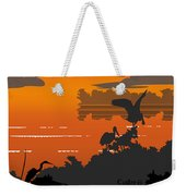 Abstract Tropical Birds Sunset Large Pop Art Nouveau Landscape 4 - Right Side Weekender Tote Bag