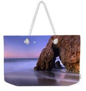 Sea Arch And Full Moon Over El Matador Weekender Tote Bag by Tim Fitzharris