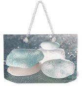 Sea Glass Aqua Shimmer Weekender Tote Bag by Barbara McMahon