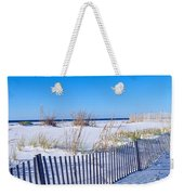 Sea Oats And Fence Along White Sand Weekender Tote Bag