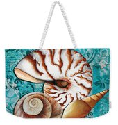 Sea Shells Original Coastal Painting Colorful Nautilus Art By Megan Duncanson Weekender Tote Bag by Megan Duncanson