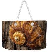 Sea Snail Shell On Old Wood Weekender Tote Bag