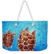 Sea Turtles Swimming Towards The Light Together Weekender Tote Bag