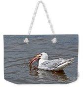 Seagull Eating Huge Fish In Water Art Prints Weekender Tote Bag