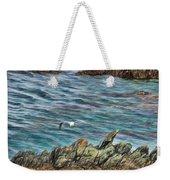 Seagull Over Rocks Weekender Tote Bag