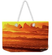 Seagull Soaring Over The Surf At Sunset Oregon Coast Weekender Tote Bag