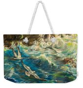 Seagulls Over The Rough Sea Weekender Tote Bag