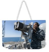Seaman Stands Lookout Aboard Weekender Tote Bag