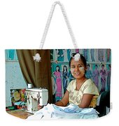 Seamstress At Her Sewing Machine In Tachilek-burma Weekender Tote Bag