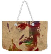 Sean Connery Actor Watercolor Portrait On Worn Distressed Canvas Weekender Tote Bag