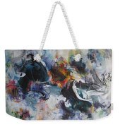Seascape Abstract Painting Blue Purple Orange Acrylic Painting Weekender Tote Bag