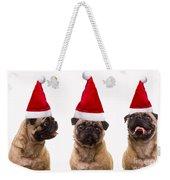 Seasons Greetings Christmas Caroling Pug Dogs Wearing Santa Claus Hats Weekender Tote Bag