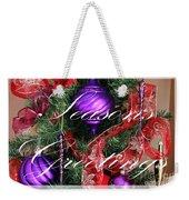 Seasons Greetings - Greeting Card - Purple - Red - Gold Weekender Tote Bag