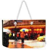 Season's Greetings - Yellow And Blue Umbrella - Holiday And Christmas Card Weekender Tote Bag