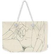 Seated Female Nude With Open Blouse Weekender Tote Bag