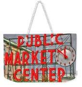 Seattle Public Market Center Clock Sign Weekender Tote Bag