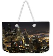 Seattle Skyline At Night Weekender Tote Bag
