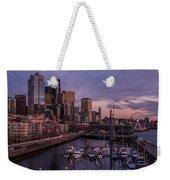 Seattle Skyline Bell Harbor Dusk Weekender Tote Bag