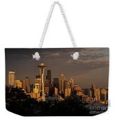 Seattle Skyline With Space Needle And Stormy Weather Weekender Tote Bag
