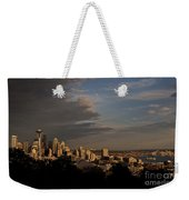 Seattle Skyline With Space Needle And Stormy Weather With Mount  Weekender Tote Bag