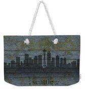 Seattle Washington City Skyline Silhouette Distressed On Worn Peeling Wood Weekender Tote Bag