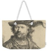 Self Portrait In A Velvet Cap With Plume Weekender Tote Bag by Rembrandt