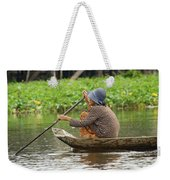 Senior Woman Paddling A Boat Weekender Tote Bag