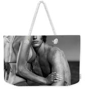 Sensual Portrait Of A Young Couple On The Beach Black And White Weekender Tote Bag