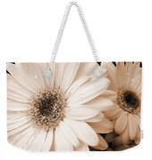 Sepia Gerber Daisy Flowers Weekender Tote Bag by Jennie Marie Schell