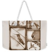 Sepia Hummingbird Collage Weekender Tote Bag