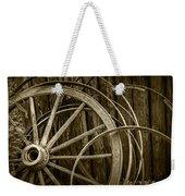 Sepia Photo Of Broken Wagon Wheel And Rims Weekender Tote Bag