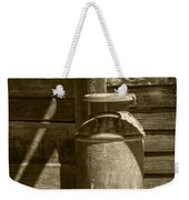 Sepia Photograph Of Vintage Creamery Can By The Old Homestead In 1880 Town Weekender Tote Bag