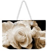 Sepia Roses With Rain Drops Weekender Tote Bag by Jennie Marie Schell