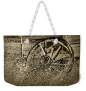 Sepia Toned Photo Of An Old Broken Wheel Of A Farm Wagon Weekender Tote Bag